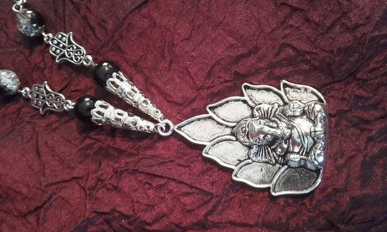 hindu god flower petal spiritual Jade gemstones Ganesha Necklace