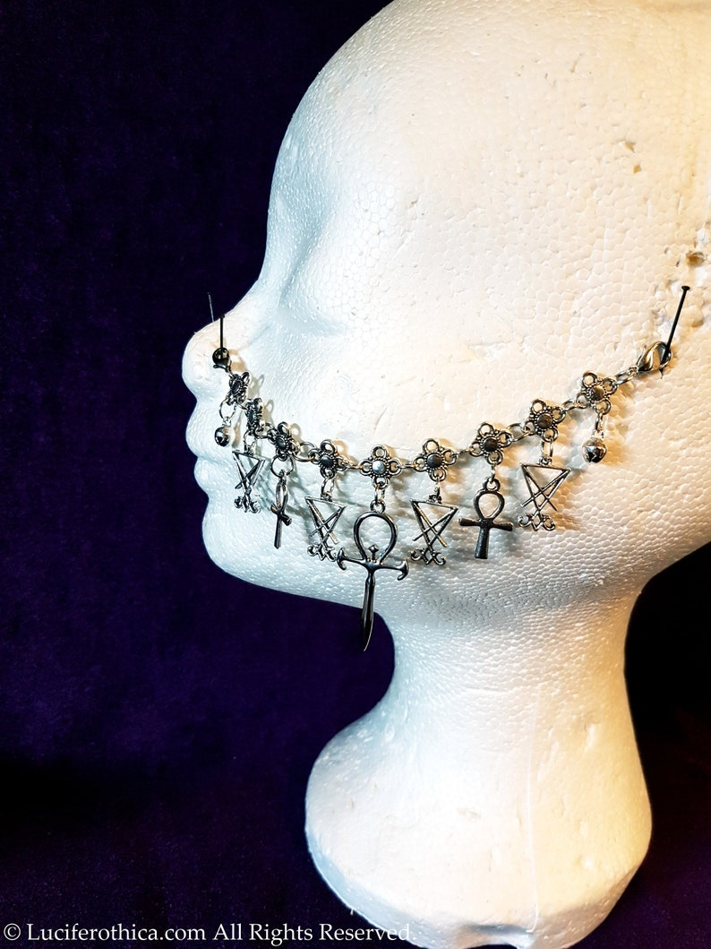 goth gothic occult nose jewellery nose piercing Vampire Ankh  Sigil of Lucifer Nosechain