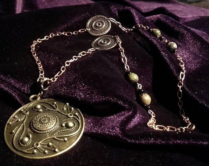 Antique copper necklace with kambaba stones - pagan witch occult gemstones kambaba sjamanic shaman