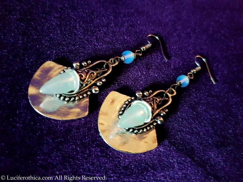 Tear Drop Earrings Opalite shimmering tears newage jewelry stargate gothic goth gift special boho teardrop cone charm fantasy fairy cute