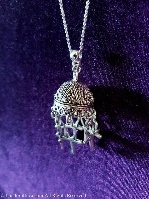 Vampire dracula Egyptian symbol goth gothic necklace big huge ankh Boho Ankh Umbrella Pendant