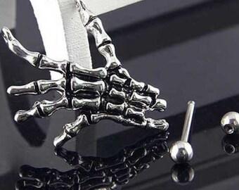 Skeleton Hand Nipple Piercing