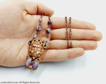 Electroformed Maya Necklace with Amethyst Crystals (Copper)