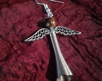 Tigereye Angel - spiritual earring gemstone wings