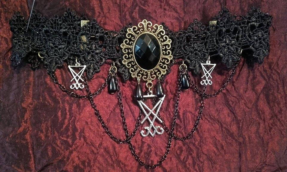 Luciferian Choker Lace Neckwear Sigil Of Lucifer Gothic Occult Chains