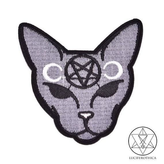 HUGE Cat Cats with flowers Skull Patch Iron on Patch or Sew on Witch Witchy Pagen Punk Gothic Goth Patch