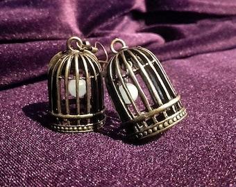Birdcage Amazonite / Amethyst Earrings
