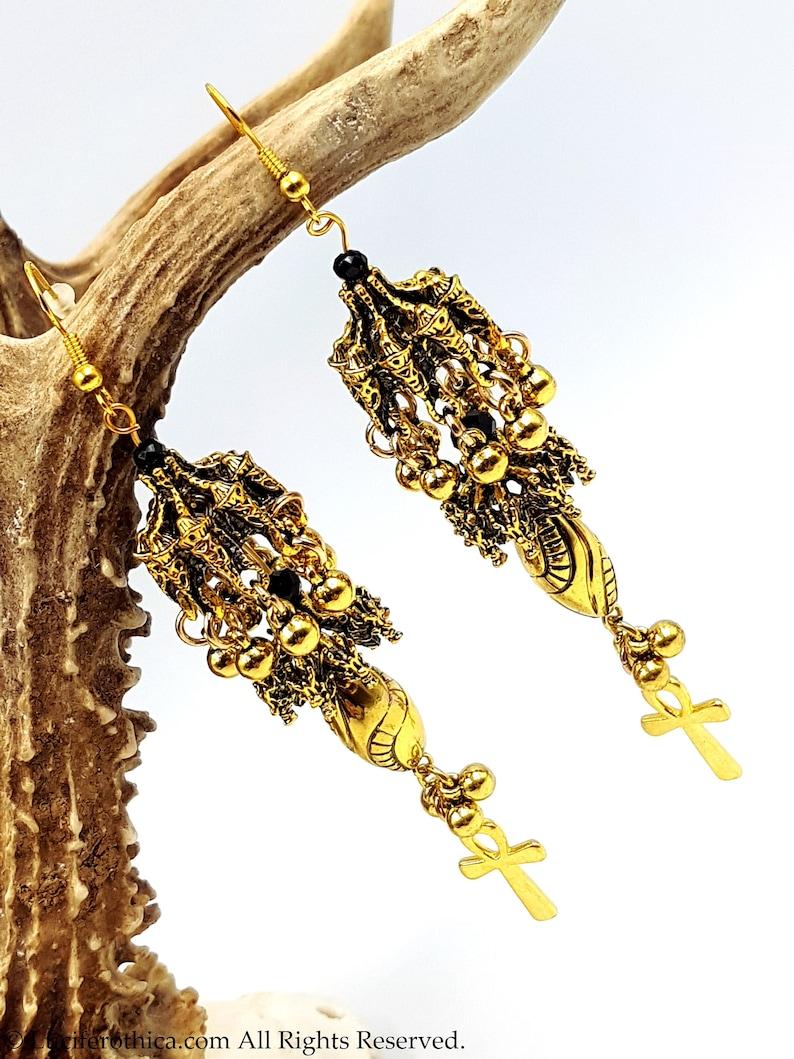 occult egyptian royalty pharao vampire ankh necklace immortality gothic big vampire ball jewellery gothic earrings Royal Ankh Earrings