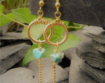 """""""Paunees"""" gold and turquoise earrings"""