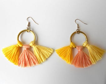 Earrings with fringe Yellow Rose on brass ring