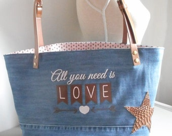 "Tote bag ""All you need is love"" jeans, leather, cotton, Brown, pink, machine embroidery - mothers day"