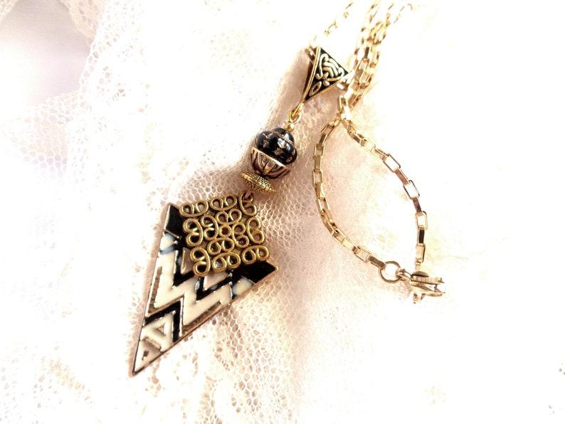 blackantique goldcream tones steel chain 51 cm ART DECO style necklace 7125 mm graphic Pendant rectangular mesh