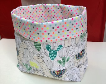 Llama and cactus fabric basket, storage bin, organise box