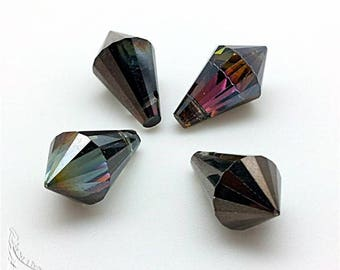 Set of 4 beads drops pointed warheads metallic smoky grey faceted Crystal