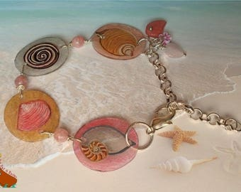 """Bracelet parts drawings shells chain charms """"Grains of sand"""" pink beige"""