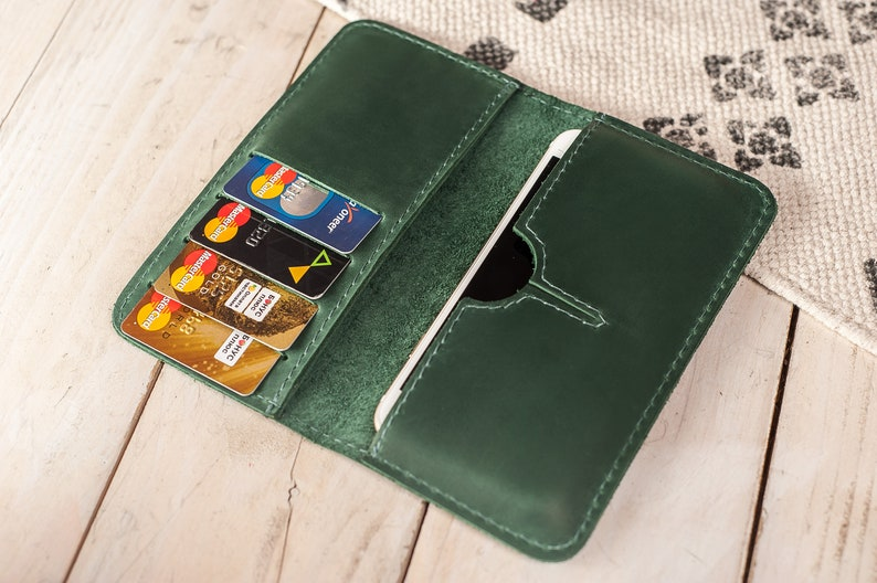 quality design 41358 815c2 Green cell phone wallet purse,Wallet phone case,iPhone wallet case,Leather  engraved wallet,iPhone 6 wallet case,Custom wallet card