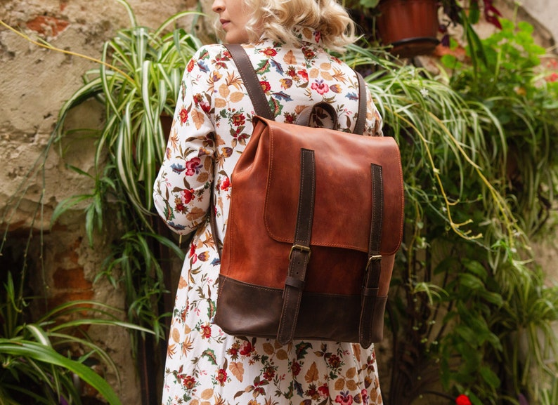 Leather backpack women Backpack purse College backpack Laptop backpack Brown backpack High quality leather