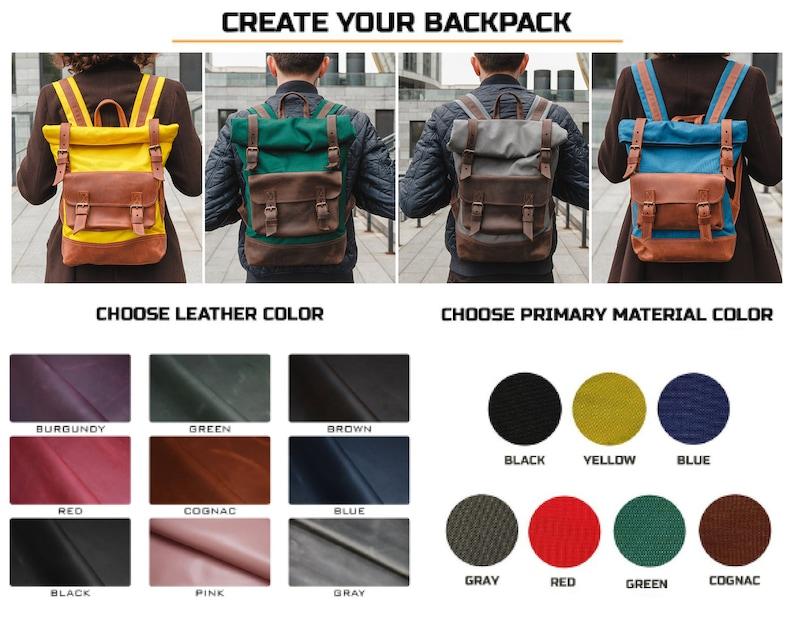 Yellow  rolltop backpack,Canvas backpack,Laptop backpack,Roll top backpack,Canvas backpack women,Mens backpack,Travel backpack,Traveler gift