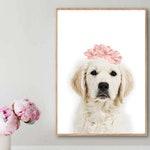 Dog with Pink Flower Crown, Printable Wall Art, Labrador Puppy, Animal prints, Nandi Animals, Girls Room Decor, Nursery Decor Art, Poster