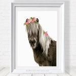 Horse with Pink Flower Crown, Printable Wall Art, Animal prints, Nandi Animals, Girls Room Nursery Decor, Farm Animals, Pony, Photo Print