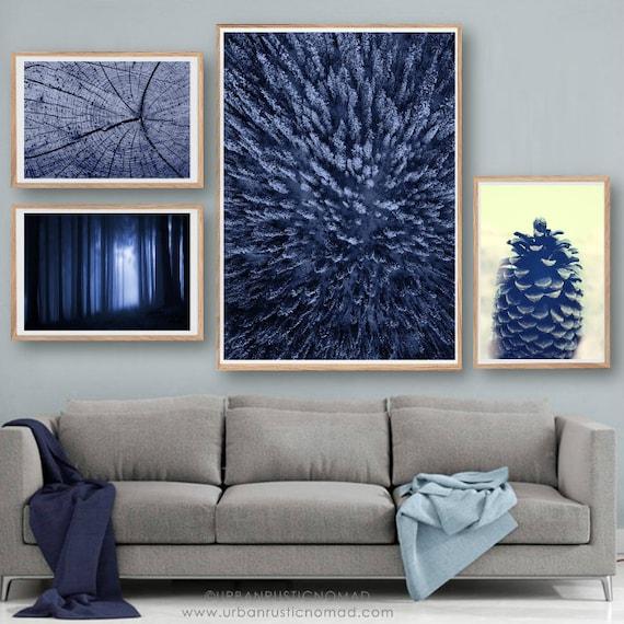 order online new lower prices wholesale price Tronc d'arbre forêt, Bleu Denim Indigo, Art mural, impression nordique,  Poster paysage scandinave, minimaliste, photographie, Hygge, forêt