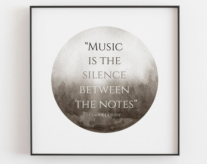 Music Is The Silence Between The Notes- Sepia - Inspirational Quote Print, Motivational, Wall Art, Office Art Print, Bedroom, Living Room
