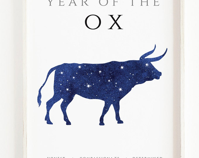 Year of The OX - Watercolour, Hand Made Chinese Zodiac Print, Office Décor, Kids Room, Nursery, Bedroom