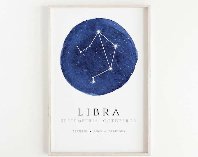 Libra Watercolour Hand Made Zodiac Print, Kids Room, Nursery, Bedroom, Office Décor