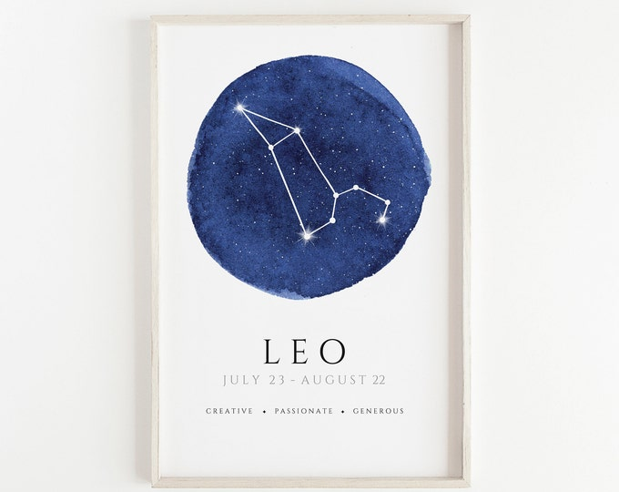Leo Watercolour Hand Made Zodiac Print, Kids Room, Nursery, Bedroom, Office Décor