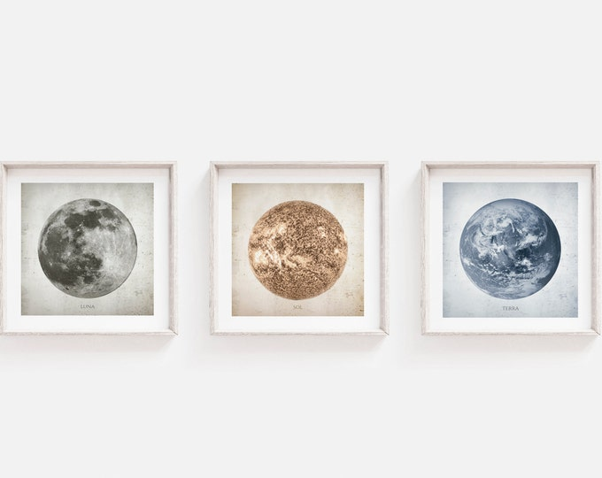 Set of 3 Prints - Moon, Sun and  Earth Print -  Office Bedroom, Dining, Nursery, Kids Room Decor, Nursery, Wall Print