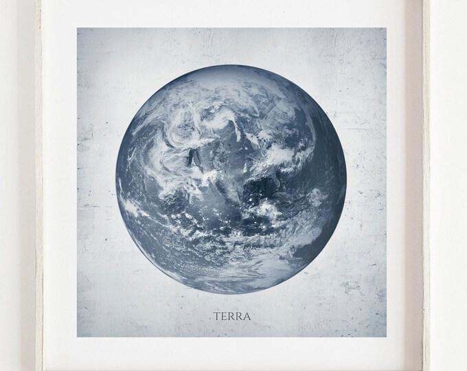 Planet Earth, Wall Print, Terra, Wall Print, Home Decor, Living, Dining Nursery Room