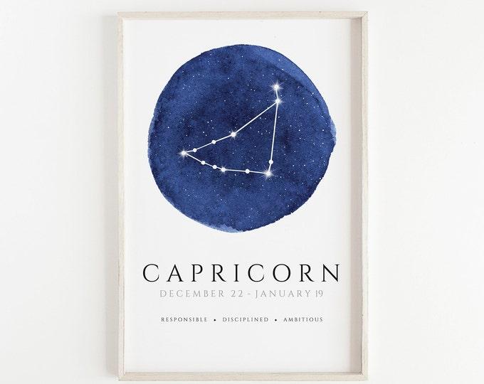 Capricorn Watercolour Hand Made Zodiac Print, Kids Room, Nursery, Bedroom, Office Décor