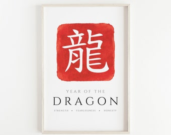 Year of The Dragon - Watercolour, Hand Made Chinese Zodiac Print, Office Décor, Kids Room, Nursery, Bedroom