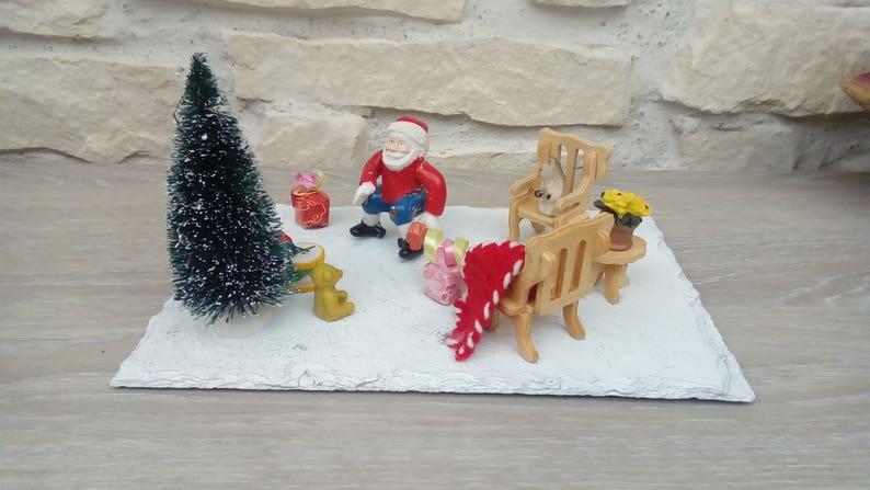 Diorama Scène De Noël Cadeaux Décoration Fait Main Etsy