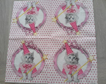 Set of 2 paper napkins depicting a cat for decopatch