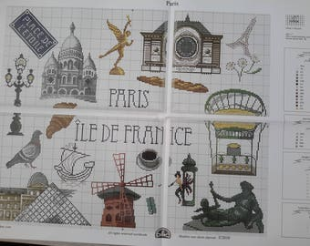 grid chart depicting paris and France monuments