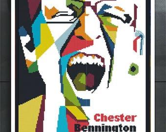 Rock star cross stitch pattern Chester Bennington Linkin park Memorial  Gift for son Gift for boyfriend In memory Nu metal Rap metal style
