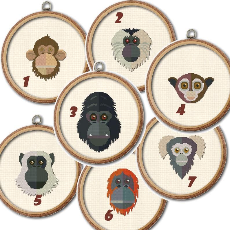 Funny monkeys cross stitch pattern Set of 7 charts Wild animals planet Nursery decor wall art jungle animals Monkeys poster Baby room Decor