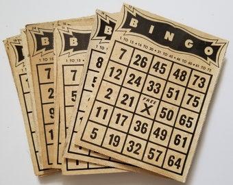 Vintage Bingo Cards, vintage bingo, vintage ephemera, junk journal, junk journal supplies, vintage supplies, junk journal ephemera, kits
