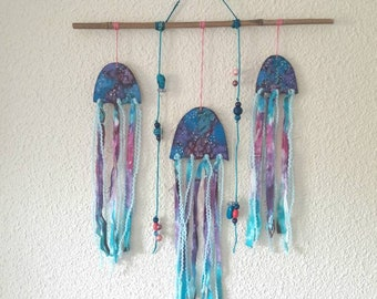 Galaxy pattern jellyfish tiedye wallhanging