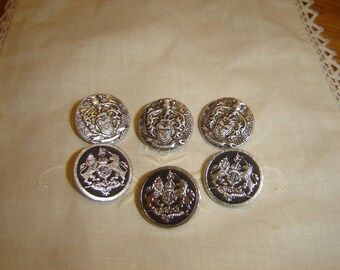 6 buttons round silver / / 19 mm
