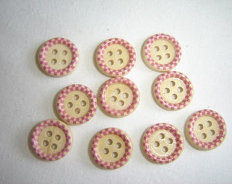 10 FANCY BABY CHILD WOOD BUTTONS / / 15 MM / / SET 3