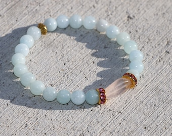 I know Sometimes>> Aquamarine, Rose Quartz, Gold, Serenity Bracelets, Stretch Bracelets, Yoga Jewelry, Boho Jewelry, Mala Bracelets