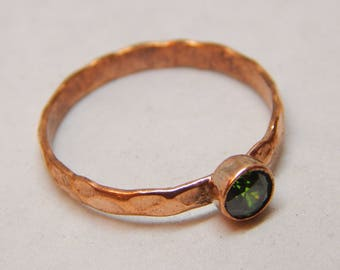 BRONZE Copper Peridot Stackable Ring, Rose gold ring, dainty ring, Stackable  Ring, Delicate hammered ring, minimalist jewelry