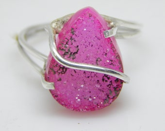 HOT Pink Druzy Gemstone ring, Druzy Jewelry, HandMade Solid 925 sterling Ring, Ring Size 7