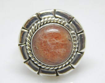 Beautiful Natural SunStone HandMade Solid 925 sterling Ring,RING Size 7