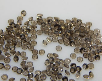 3X3MM Natural Smoky Quartz Round Faceted For 5 PC -Uniform height and color SMOKY QUARTZ calibrated gemstone Round
