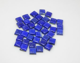 10x10 mm (5 pcs) cabochon Natural LAPIS LAZULI Square Cabochon  beautiful Deep Blue color Lapis