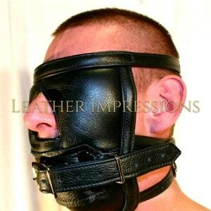 GENUINE LEATHER BONDAGE PADDED FACE MUZZLE HEAD HARNESS HEAVY DUTY
