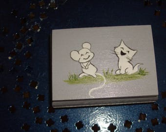 "Mini jewelry box handpainted ""cat and mouse"""